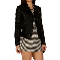 Sale-black Tough Gal Moto Jacket