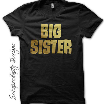Big Sister Announcement Shirt - Gold Big Sister Outfit / Toddler Sibling Clothes / Baby New Sister Shirt / Pregnancy Reveal to Grandparents