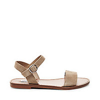Silver & Black Flat Leather Sandals | Steve Madden DONDDI