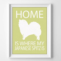 Japanese Spitz Print, Illustrated Dog Art, Spitz Dog Decor, Dog Breed Wall Art, Minimalist Pet Art, Puppy Print, Spitz Gift