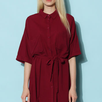 When Casual Calls Oversize Shirt Dress in Wine Red S/M