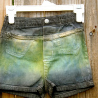 Kids Gray, Green and Yellow Shorts
