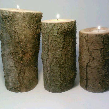Log Candle Holder Centerpiece Easy