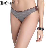 Annajolly Women Sexy Striped Panties Brand Fashion Lace Briefs Low Rise Breathable Cotton  Underpants Lingerie Underwear 9043