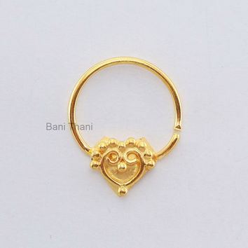 Gold Plated 925 Sterling Silver Nose Ring - Ethnic Septum Ring - Septum Jewelry - Nose Ring - Gypsy - #6686