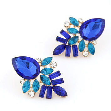 New Women's Gold Plated Alloy Crystal Rhinestone Drop Leaves Ear Studs Earrings = 1705918532