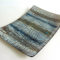 Fused Glass Crackle Plate
