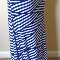 Blue and white striped skirt, maxi skirt, summer skirt, skirt, maternity skirt, long skirt