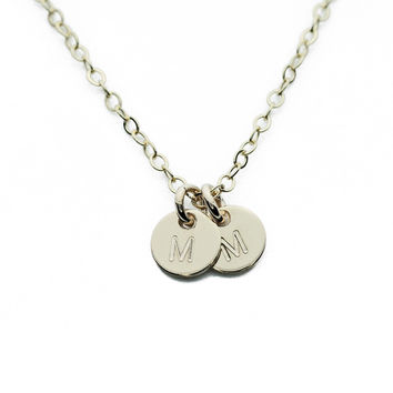 Gold Necklace Custom Initial Mini Discs