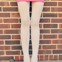 Pretty and Sexy Stripe Lace Tights - White