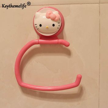 Keythemelife Hello kitty Hook Style Towel Rack Hook Up Plastic Storage Rack Rag Hanging Utility for Kitchen Bathroom BF
