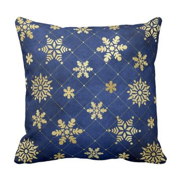 Golden Snowflakes on Blue Throw Pillow