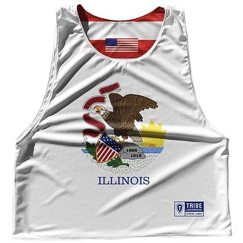 Illinois State Flag and American Flag Reversible Lacrosse Pinnie