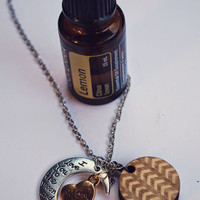 Essential Oil Diffuser Necklace /// Mom - I love you to the Moon and Back /// from Walnut Wood