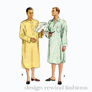 1950s Men's NIGHTSHIRT Patch Pocket Winged Collar or Collarless Front Neck Button Opening Size 40 42 McCalls 9233 Vintage Sewing Patterns