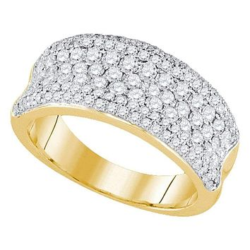 14k Yellow Gold Women's Round Diamond Pave Wedding Anniversary Band Ring 1-1/3 Cttw - FREE Shipping (US/CAN)
