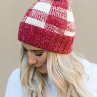Knitted Plaid Faux Fur Pom Beanie - Red