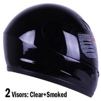 Gloss Black Full Face Motorcycle Helmet DOT +2 Visors Comes with Clear Shield and Free Smoked Shield (XL)