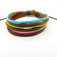 Multicolour Cotton Rope Woven Bracelets Adjustable by sevenvsxiao