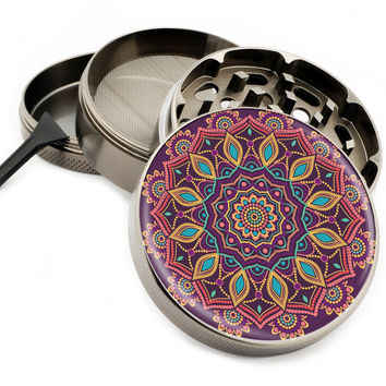 "Love Child Mandala - 2.5"" Premium Zinc Herb Grinder"