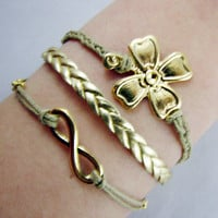 Golden Infinity Luck Bracelet, FourLeaf Clover Bracelet, Mother's day gift, Enco-friendly Personalized Charm Jewelry Friendship Gift.
