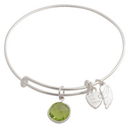 Expandable Bangle Bracelet Birthstone August Charm Silver Plate