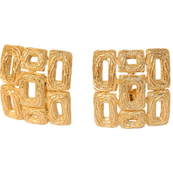 60s Crown Trifari Earrings, Abstract Gold Metal Design