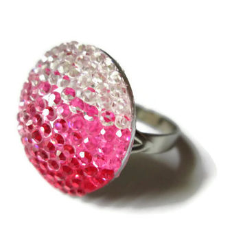 Pink Ombre Ring, Acrylic Circle Cabochon, Silver Toned Adjustable Ring Base