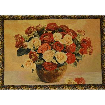Tache 27 x 20 Inch Red Valentine's Proposal Floral Tapestry Wall Hanging With Hanging Loops (WH-12442E)