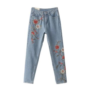 Women 's flower embroidery Slim thin trousers