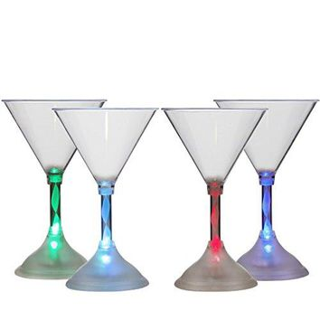 Lily's Home LED Light Up Flashing Plastic Martini Cocktail Glasses, Color Changing with 7 Different Colors and Rainbow Mode, Essential For Parties (6 oz. Each, Set of 4)