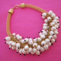 Pearl Cluster Necklace High Fashion Runway Jewelry Wedding Necklace Preppy Girl Pearls
