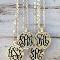 Monogram necklace - Monogrammed Mothers Day Gift - Personalized Jewelry - Bridesmaid Gift Initial Necklace Keepsake Necklace for Mom