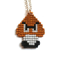Super Mario Gumba, A Bit Retro, gamer jewelry, Handmade, Handbeaded Jewelry, 8bit jewelry,
