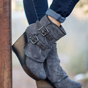 Why Don't We Just Wedge Double Buckled Wedge Booties (Grey)