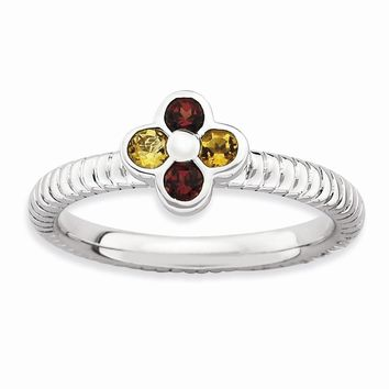 Sterling Silver Stackable Expressions Garnet & Citrine Flower Ring