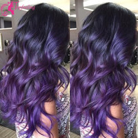 Top Quality Full Lace Human Hair Wigs Brazilian Virgin Hair Purple Wig Wet And Body Wave Lace Front Wig With Baby Hair 1B/Purple