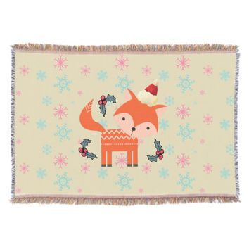 Orange Fox In Santa Hat Cute Whimsical Christmas Throw Blanket