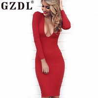 GZDL New Cocktail Slim Pencil Mini Dress Sexy Deep V Long Sleeve Stretch Bodycon Solid Women's Party Dresses Vestidos CL3199