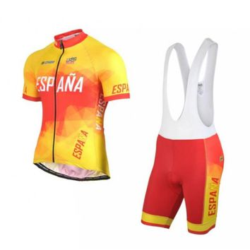 2018 new Spain Ropa Ciclismo pro team Espana cycling jerseys set summer Bicycle maillot breathable MTB bike clothing gel pad