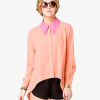 Pointed Collar Chiffon Shirt