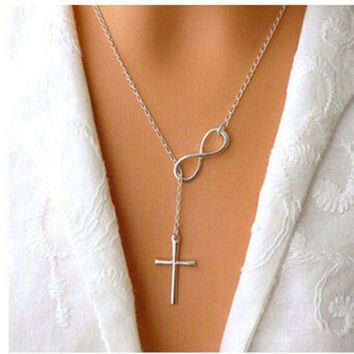 ONETOW New fashion selling digital 8 cross short necklace necklace