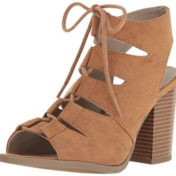 Rampage Women's Emmie Lace Up Chunky Heel Peep Toe Gladiator Bootie Sandal