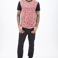 Rose Print Tee Black/Red