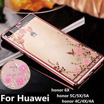 Secret Garden phone Case For Huawei honor 4A 4X 4C Cover Diamond Plating TPU for huawei 5C 5X 5A Flowers Clear Slim Back Cover