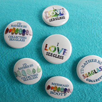 Sea Glass Round Pin-Back Buttons