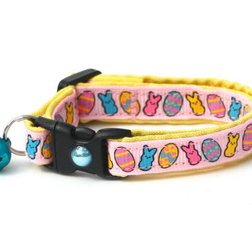 Easter Cat Collar - Cute Bunnies and Eggs on Pink - Kitten or Large Size