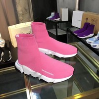 2002 new arrivals Balenciaga Boots Women Men Fashion Casual Socks boot Shoes Sneakers top quality pink