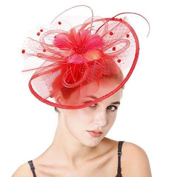 HNBQMX Sinamay Fascinator Hat Cocktail Headwear for Bridal Headpiece with Veil