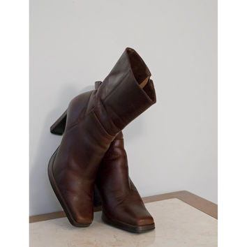 Vintage 90s Boots / 1990s Brown Leather Boots / Steve Madden Ankle Boots / High Heel Square Toe Boots / Womens Boots / Shoe Size 6 B M